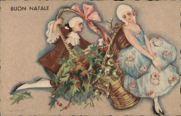 Buon Natale - Colonial French Costumes, Basket of Holly