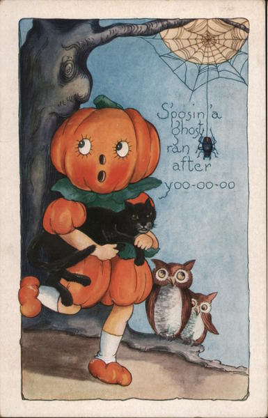 Rare Embossed Whitney S'posin' a ghost ran after yoo-oo-oo Halloween Post Card With a Pumpkin Character Holding a Black Cat.
