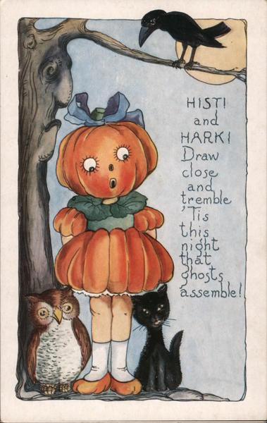 Rare Embossed Whitney Girl Pumpkin Under Tree Halloween