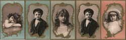 Lot of 5 Trade Cards: Children, Woolsen Spice Co. Trade Card