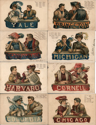 Set of 8 College Girls & Boys Football Player Ivy League Postcard