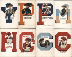 Set of 8 Ivy League College Girls in Letters, Muffs Postcard