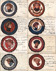 Set of 8 Ivy League College Girls in Seals Postcard