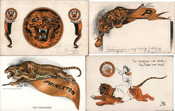 Lot of 4 Princeton University Tiger Mascot, College Girl Postcard