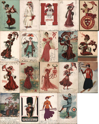 Lot of 19 Harvard University College Girls, Pennants, Flags, Football, Mascots Postcard