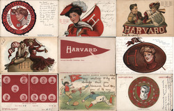 Lot of 9 Harvard University College Girls, Pennants, Flags, Football, Mascots Postcard