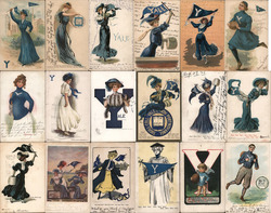 Lot of 18 Yale University College Girls, Pennants, Flags, Football, Mascots Postcard