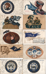 Lot of 10 Yale University College Girls, Pennants, Flags, Football, Mascots - Postcard