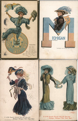 Lot of 4 University of Michigan College Girls, Pennants, Flags, Football, Mascots Postcard