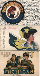 Lot of 3 University of Michigan College Girls, Pennants, Flags, Football, Mascots Postcard