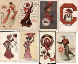 Lot of 8 University of Chicago College Girls, Pennants, Flags, Football, Mascots Postcard
