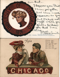 Lot of 2 University of Chicago College Girls, Football Men Postcard