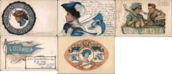 Lot of 5 Columbia University College Girls, Pennants, Flags, Football, Mascots Postcard