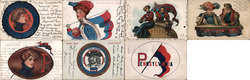 Lot of 7 University of Pennsylvania Upenn College Girls, Pennants, Flags, Football, Mascots Postcard