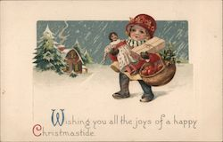 Wishing You All The Joys of a Happy Christmastide Postcard