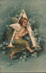Cherub running with letter A in blue flowers Postcard