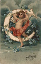 Cherub with a C and blue flowers Postcard
