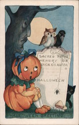 Rare Whitney Embossed Halloween Sacred to Ye Memory of Jack O' Lantern Postcard