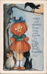 Rare Whitney Embossed Halloween Girl Pumpkin Under Tree Postcard