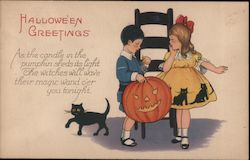 As the candle in the pumpkin sheds its light The witches will wave their magic wand o'er you tonight. Postcard