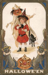 H15 Halloween Girl with Jack-o-Lantern and Three black cats Postcard