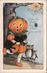 Rare Embossed Whitney Halloween S'posin a Ghost Ran After Yoo-oo-oo Postcard