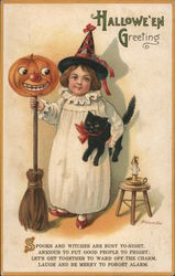 Halloween Greeting Spooks and Witches Are Busy Tonight, Anxious to Put Good People to Fright Postcard