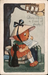 Rare Whitney Embossed Pumpkin Girl Reading Book: Whoo-oo-o's A Fraid of Ghosts? Postcard