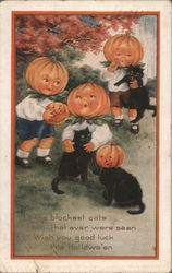 Three Children with Pumpkin Heads with Black Cats Postcard