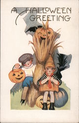 A Halloween Greeting, Embossed Children Postcard