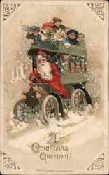 A Christmas Greeting Santa Driving Bus with Children & Toys Postcard