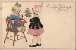 Girl giving flowers to the baby Postcard