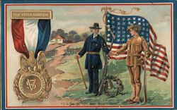 Two Soldiers with Flag for Decoration Day Postcard