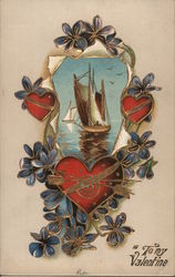 Sailing ship with hearts and flowers Postcard
