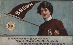 Brown University College Girl Postcard