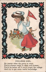 Harvard University College Girl Postcard