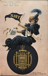 Navy College Girl Postcard