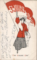 St. John's University College Girl Postcard
