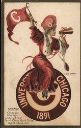 University of Chicago College Girl Postcard