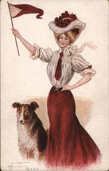 Harvard or Cornell Red & White College Girl & Mascot Postcard