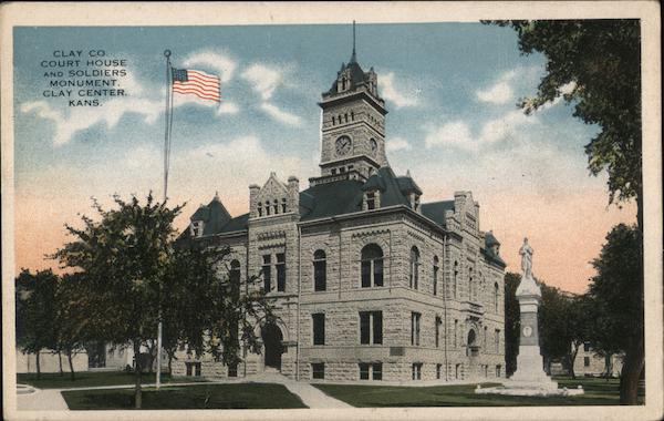 Clay Co Court House and Soldiers Monument Clay Center Kansas