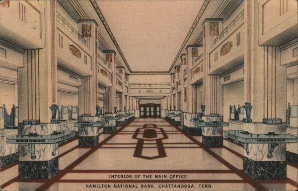 Interior of the Main Office, Hamilton National Bank Chattanooga Tennessee