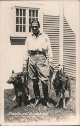 Rodolfo Valentino with German Shepherds Postcard