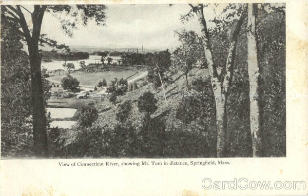 View of Connecticut River; showing Mt. Tom in distance Springfield Massachusetts
