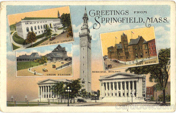 New Public Library, Union Station, Post Office, Municipal Building Springfield Massachusetts