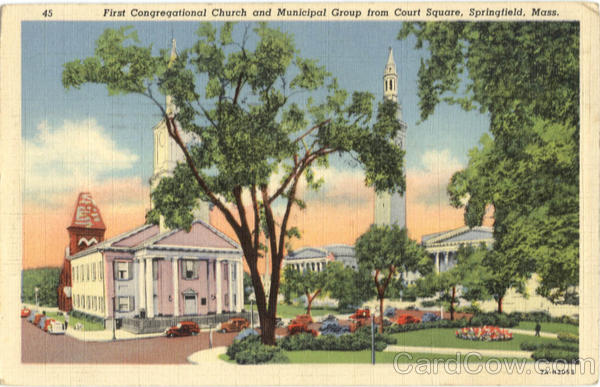 First Congregational Church and Municipal Group from Court Square Springfield Massachusetts