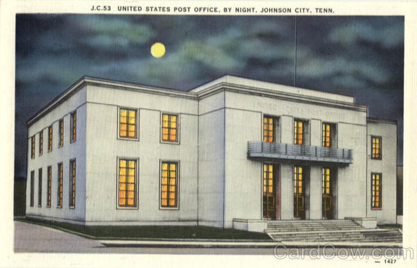 United States Post Office by Night Johnson City Tennessee