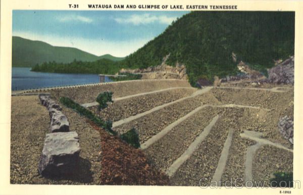 Watauga Dam And glimpse of Lake Tennessee