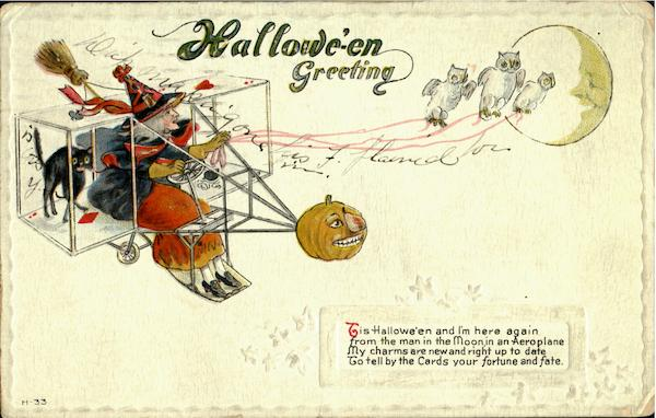 Halloween Witch in Airplane Aircraft