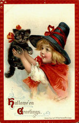 Girl with Black Cat Halloween Greetings Postcard